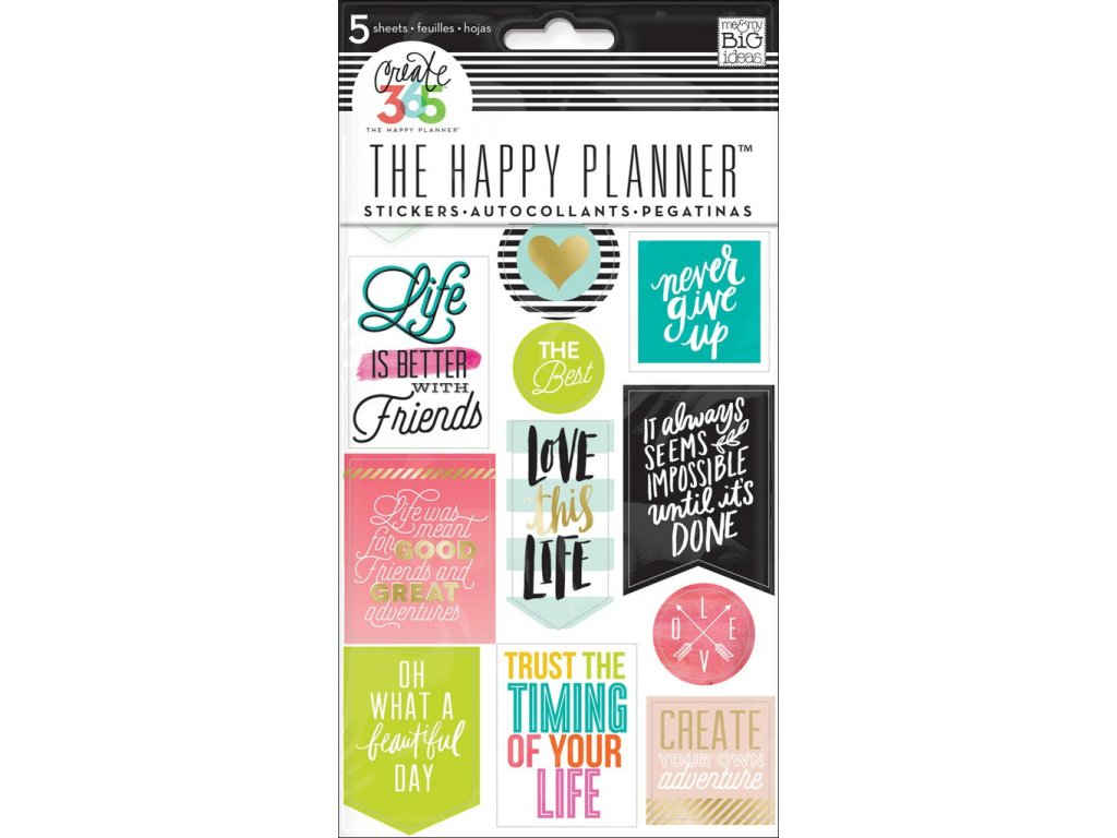 Samolepky Happy Planner - Life Quotes