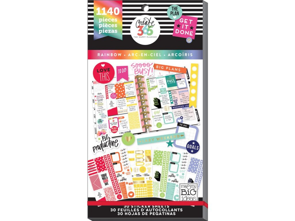 Samolepky Happy Planner Value Pack - Rainbow