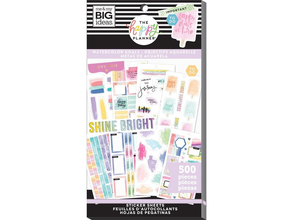 Samolepky Happy Planner Value Pack - Watercolor Goals