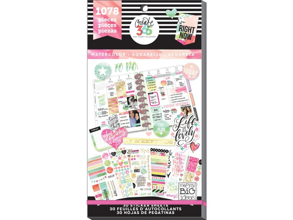 Samolepky Happy Planner Value Pack - Watercolor