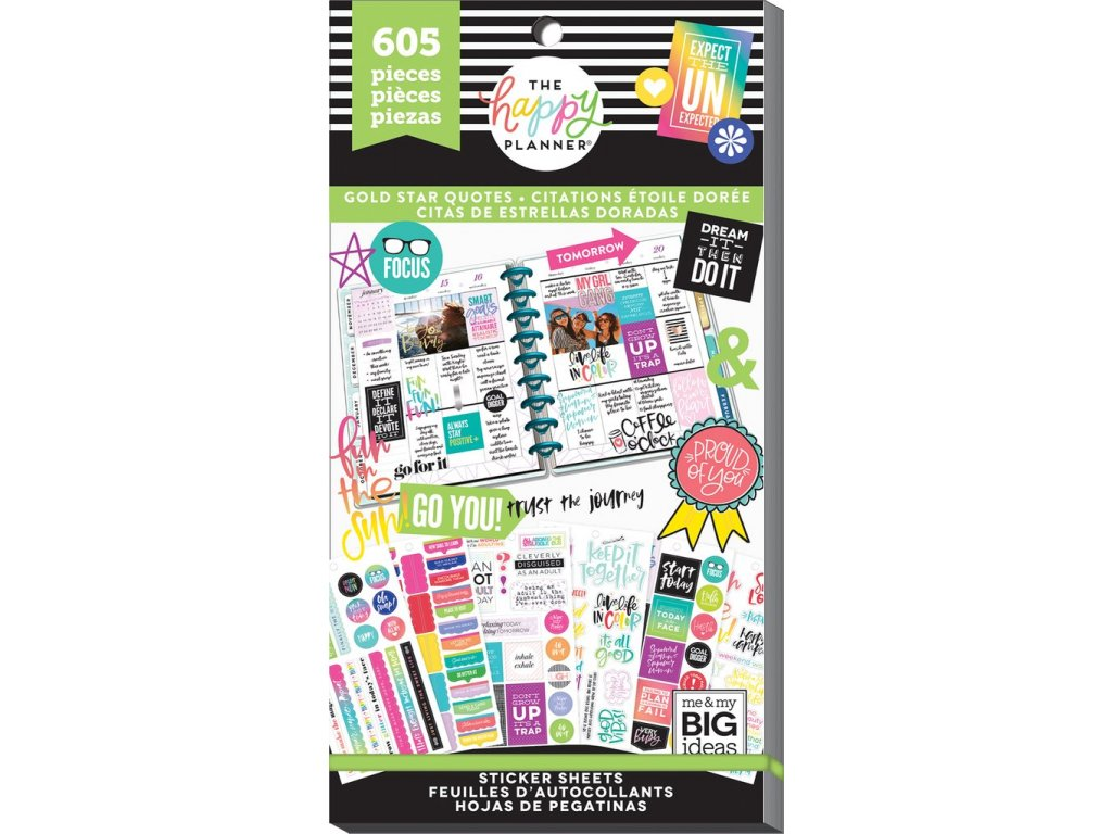 Samolepky Happy Planner Value Pack - Gold Star Quotes