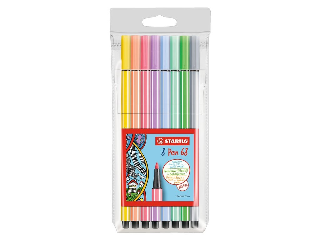 Fixy STABILO Pen 68 Pastel, sada 8 ks