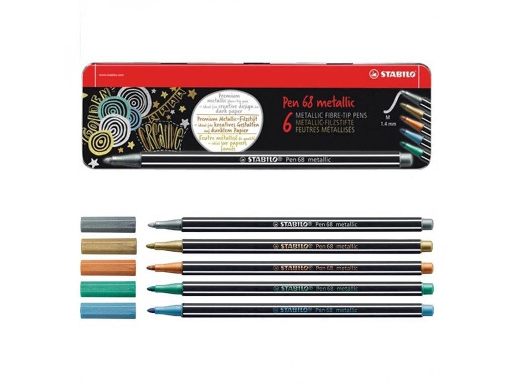 Metalické fixy Stabilo Pen 68 - sada 6 ks