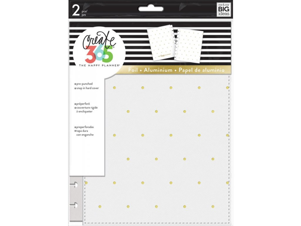 Desky na diář Happy Planner CLASSIC - White / Gold Dots