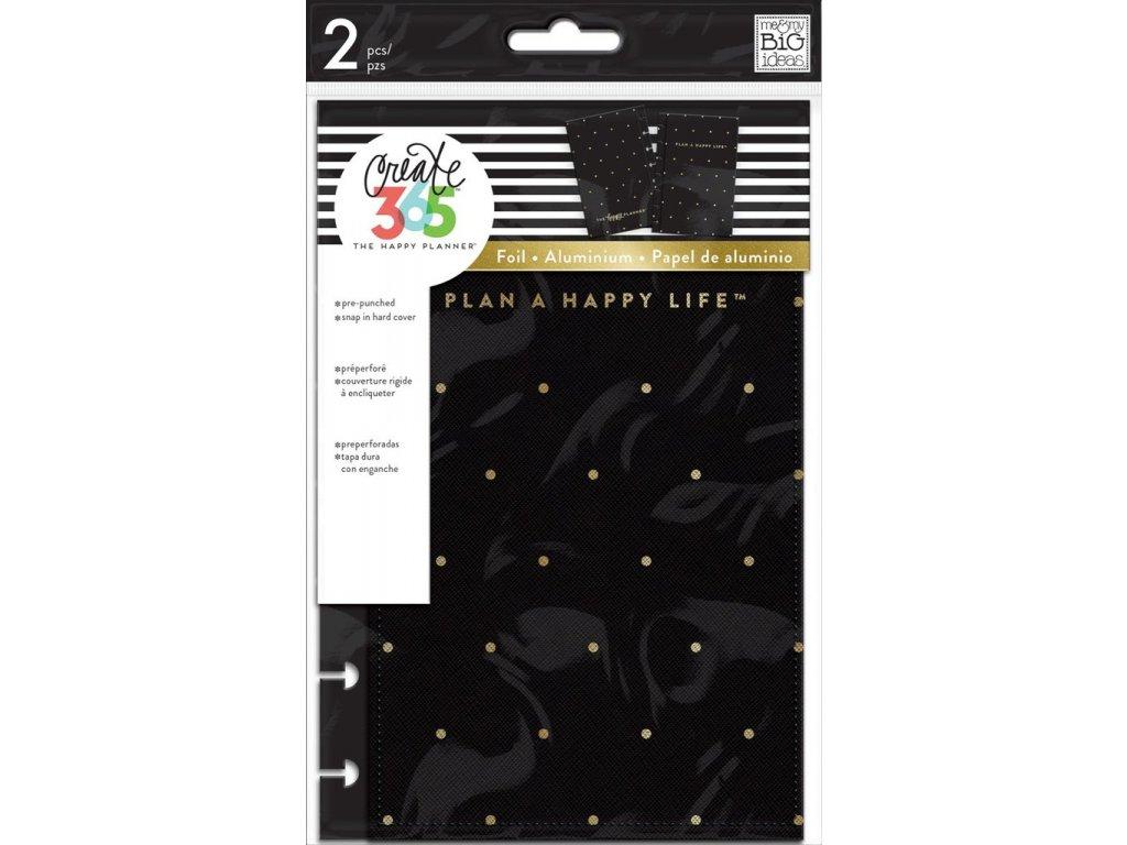 Desky na diář Happy Planner MINI - Black / Gold Dot
