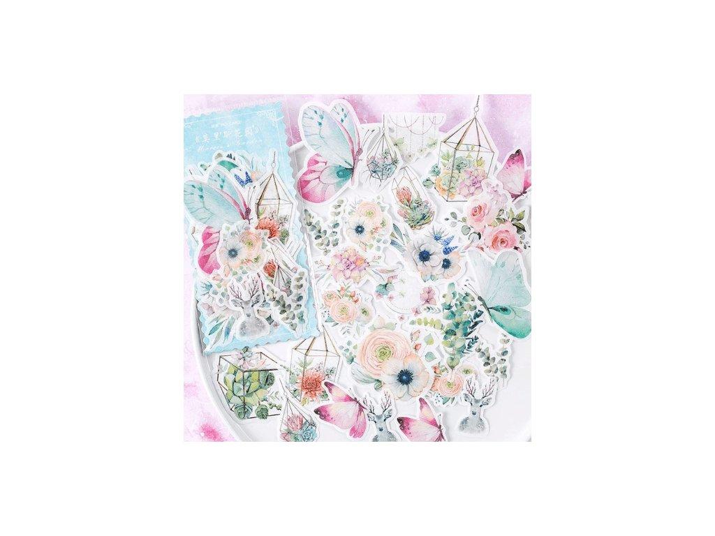 Samolepky ozdobné - Magic Flowers, 60 ks