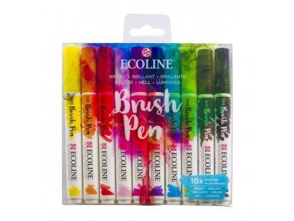 Sada akvarelových štětcových fixů Ecoline Bright, 10 ks