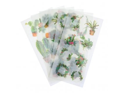 Samolepky ozdobné kvetoucí kaktusy
