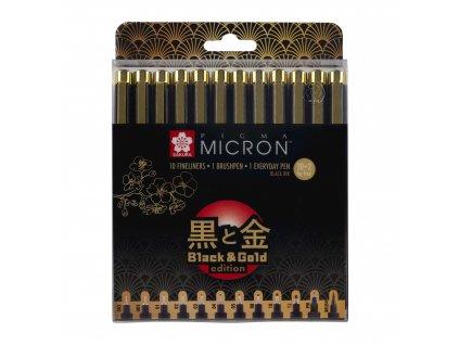 Linery Sakura Pigma Micron Black & Gold Limitovaná edice, sada 12 ks