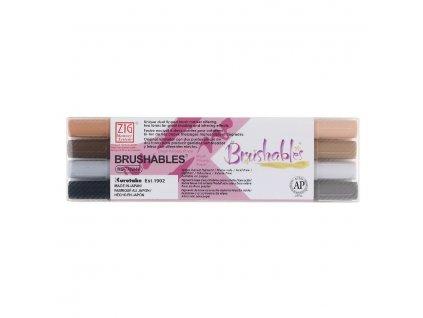 Sada štětcových fixů Kuretake Brushables brown