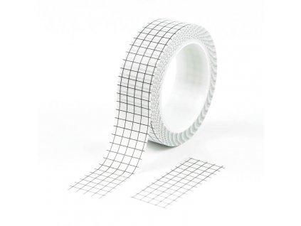 Washi páska mřížka bíločerná