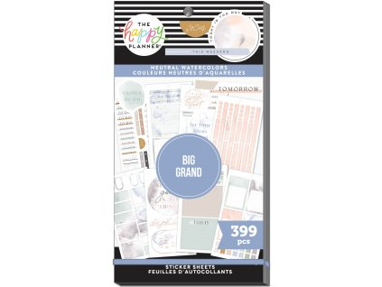 Samolepky Happy Planner BIG Value Pack Neutral Watercolors