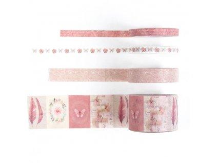 Washi páskyrůžové, sada 4 ks (3)