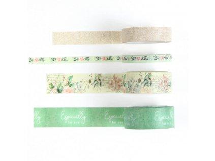 Washi pásky zelené, sada 4 ks (2)