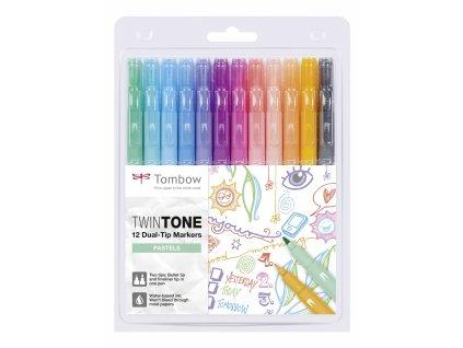 Oboustranné popisovače Tombow TwinTone - Pastels, sada 12 ks