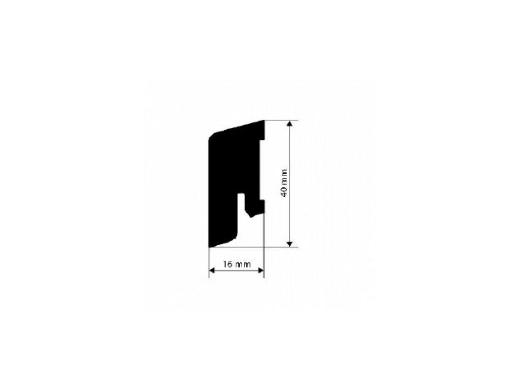 LIŠTA dýhovaná, PEDROSS MTS/ cubica 16*40 jasan