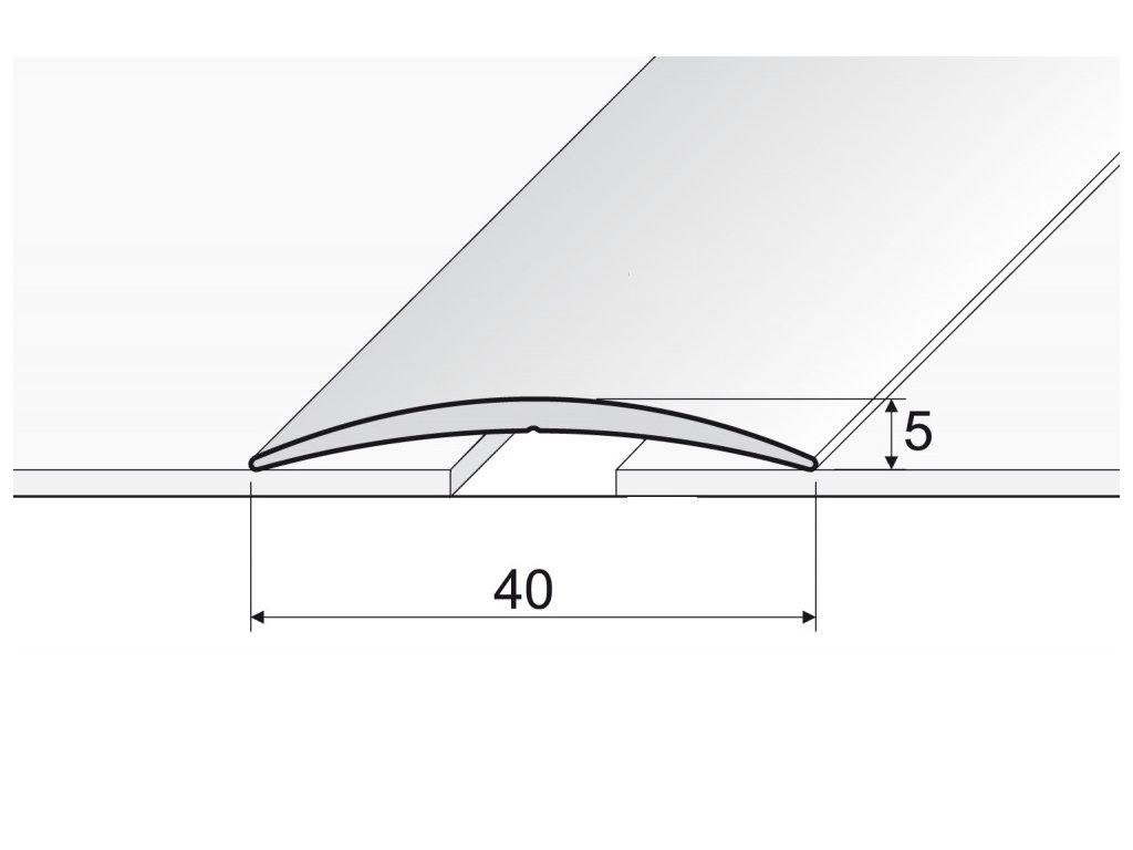 PŘECHODOVÁ  LIŠTA samolepící - dekory elox hliníku, šířka 40 mm, délka 93 cm