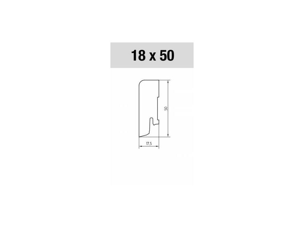PEDROSS lišta soklová MTS  cubica bílá 18*50