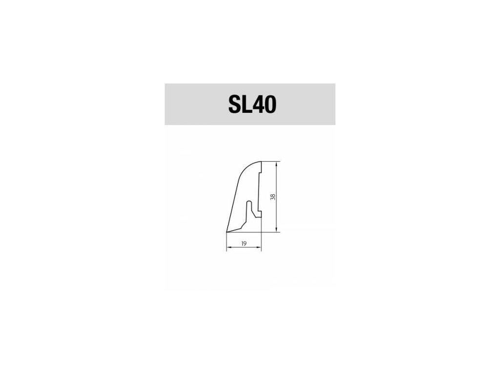 PEDROSS lišta soklová SL40 bílá 19*38