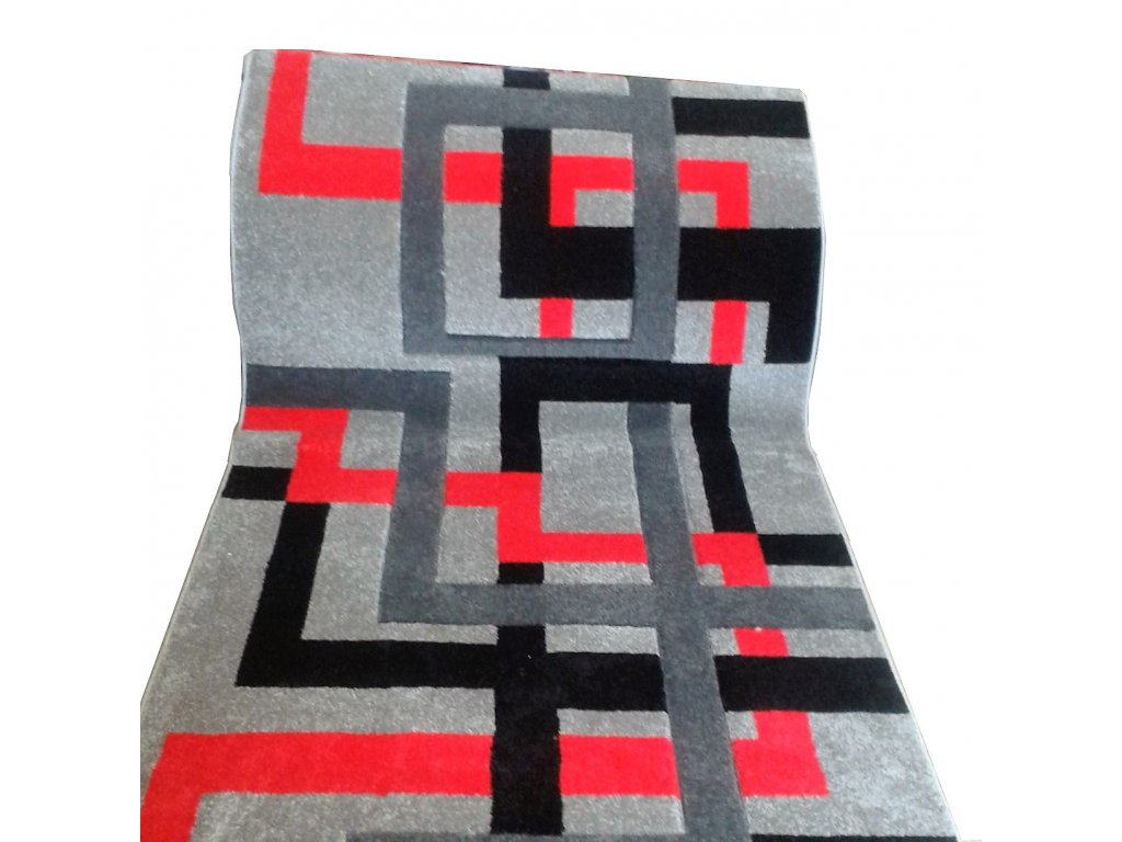 Běhoun Friese 830-GBK, š. 100 cm, barva šedá, černá červená doprodej -1,09 bm