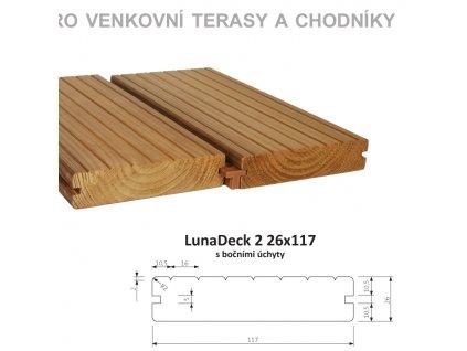 Lunawood LunaDeck 2 26*117  s bočním úchytem délky 3 až 4,8bm