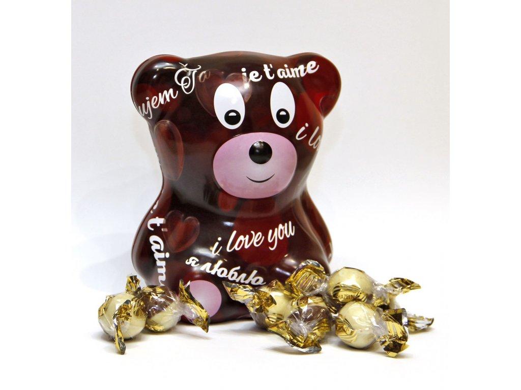 Macko s čokoládovými pralinkami