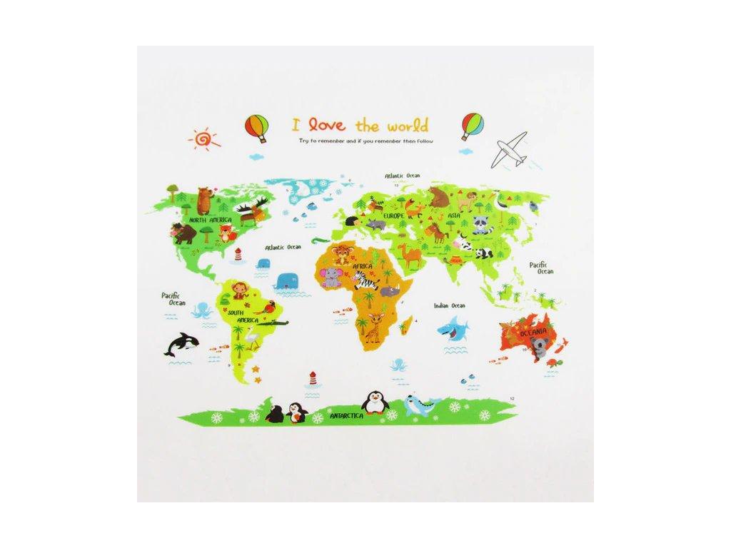 Samolepka Detská farebná mapa Sveta
