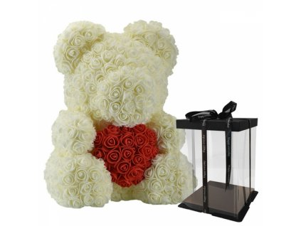 Cream Rose Flower Teddy Bear Valentine Day Gift with Gift Box 40cm 800x800