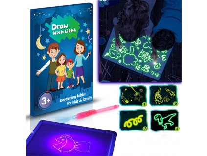 Light Board Draw With Light Fun Toy 3D Doodstage Draw Board Fluorescent Developing Toy Graffiti Doodle