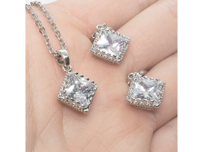 Silver Square White Set