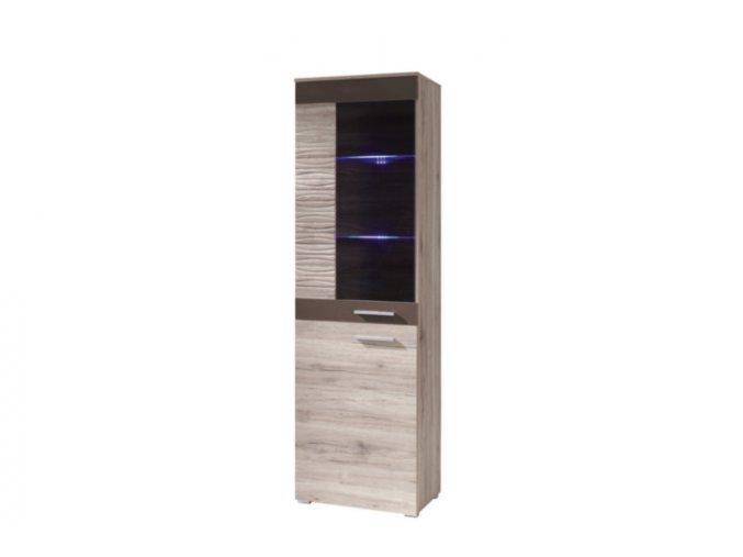 BC3 - Vitrína vertikální 2D BRICO (LED osvětlení 2 bodové RGB +750 Kč, Barevné provedení Brico Dub Sanremo-Hnědý lesk)