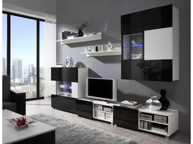 Moderní obývací stěna GORDIA sestava 8 Bílá / Bílý lesk + Černý lesk