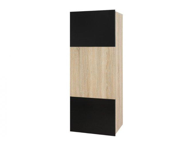 GR8 Závěsná skříňka plná GORDIA (Barevné provedení Gordia Černý/Černý mat+Černý lesk)