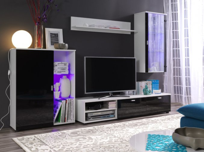 Stylová obývací stěna LOCO 2 (BARVA LED OSVĚTLENÍ RGB +820 Kč)
