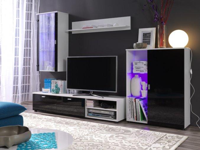 Levná obývací stěna LOCO 4 (BARVA LED OSVĚTLENÍ RGB +820 Kč)