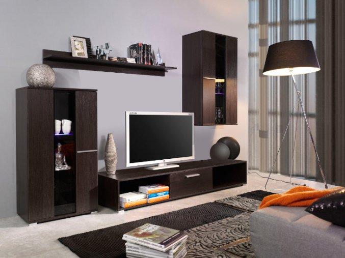 Moderní obývací stěna RICO 1 (BARVA LED OSVĚTLENÍ RGB +750 Kč)