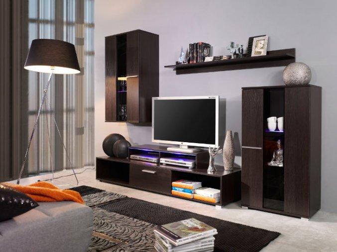 Moderní obývací stěna ROCO 1 (BARVA LED OSVĚTLENÍ RGB +890 Kč)