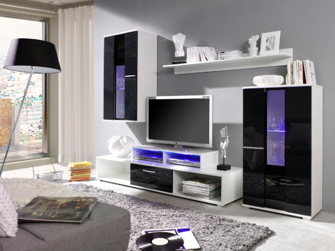Stylová obývací stěna ROCO 3 (BARVA LED OSVĚTLENÍ RGB +890 Kč)