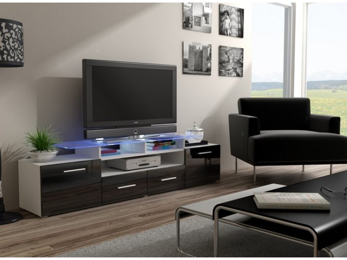 Komoda pod televizor/rádio EVORA 1 (BARVA LED OSVĚTLENÍ RGB +750 Kč)