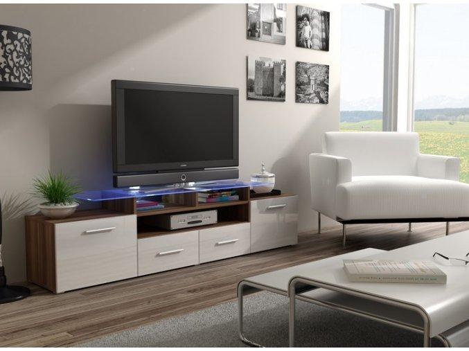 Elegantní komoda pod televizor/rádio EVORA 14 (BARVA LED OSVĚTLENÍ RGB +750 Kč)