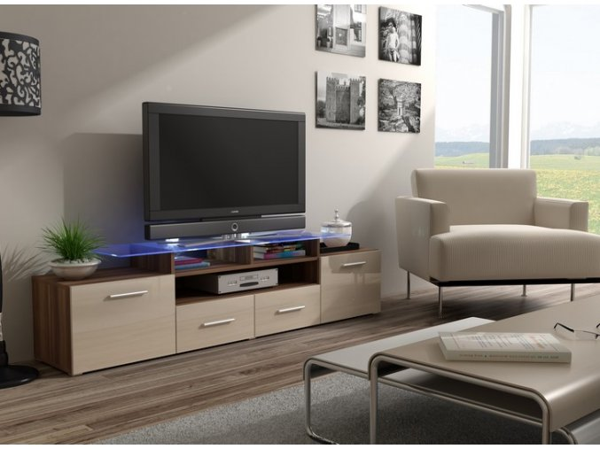 Komoda pod televizor/rádio EVORA 16 (BARVA LED OSVĚTLENÍ RGB +750 Kč)