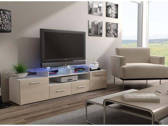 Bílá komoda pod televizor/rádio EVORA 4 (BARVA LED OSVĚTLENÍ RGB +750 Kč)