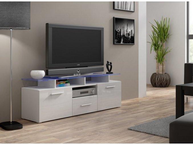 Bílá komoda pod televizor/rádio EVORA MINI 2 (BARVA LED OSVĚTLENÍ RGB +750 Kč)