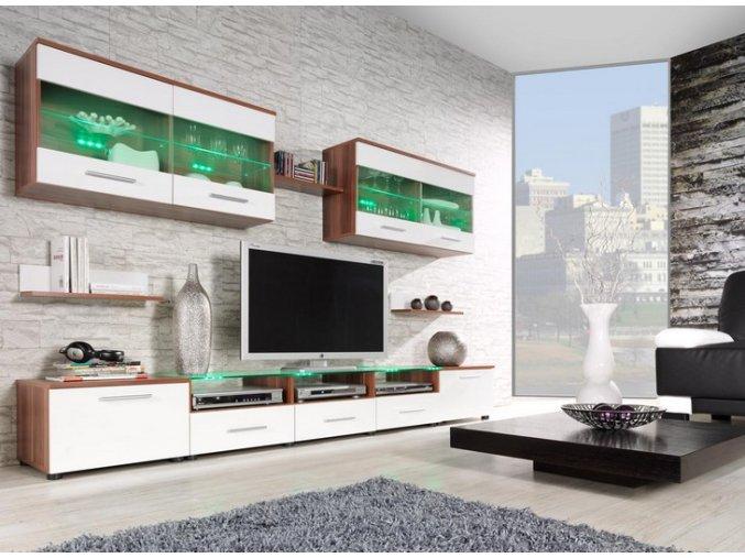 Moderní obývací stěna CAMA 1B Švestka / Bílý lesk