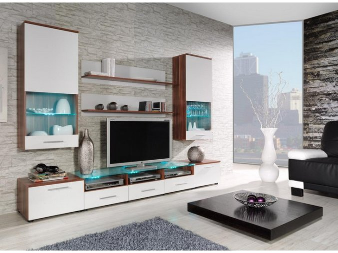 Moderní obývací stěna CAMA 2B Švestka / Bílý lesk