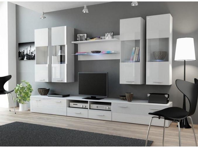 Luxusní obývací stěna DREAM 1A Bílá / Bílý lesk