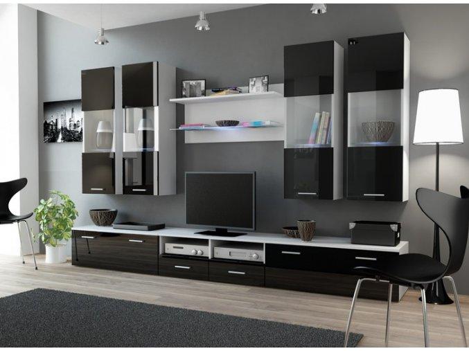 Elegantní obývací stěna DREAM 1B Bílá / Černý lesk