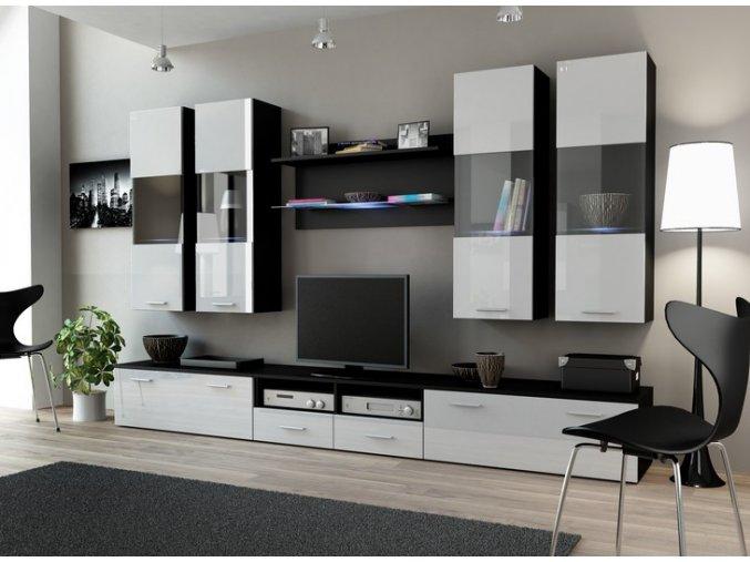 Stylová obývací stěna DREAM 1C Černá / Bílý lesk