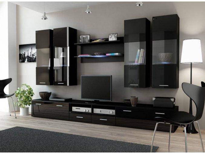 Tmavá obývací stěna DREAM 1D Černá / Černý lesk