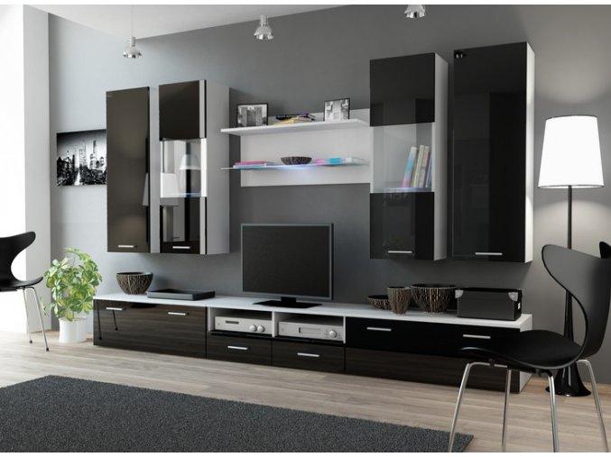 Moderní nábytek do obýváku DREAM 2B Bílý / Černý lesk